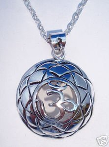 Large St Sterling Silver Curved Carved Engraved Cut Out Tibetan Buddhist Om Ohm Aum Yoga Pendant Necklace Spiritual Harmony Balance Serenity Jewelry 1 1/4 by 1 1/4 inches With A Beautiful Heavily Plated St Silver Chain