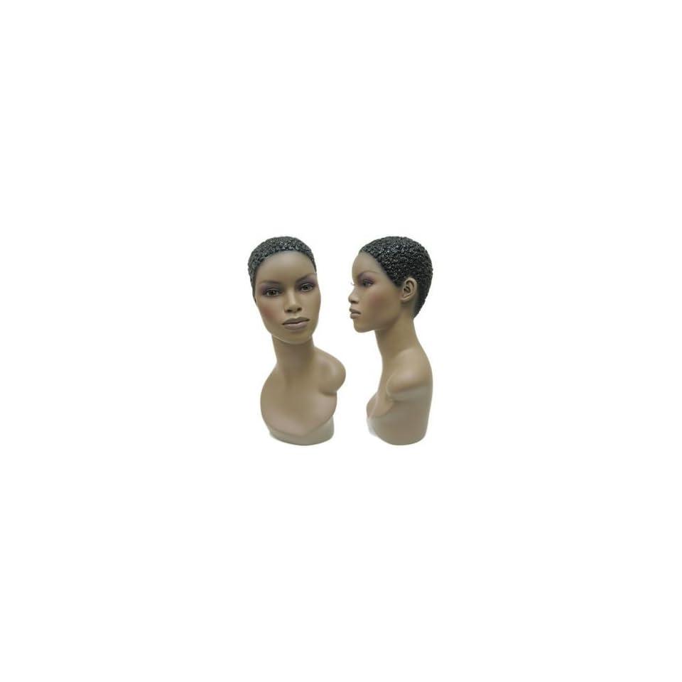 African American Female Fiberglass Mannequin Head Form