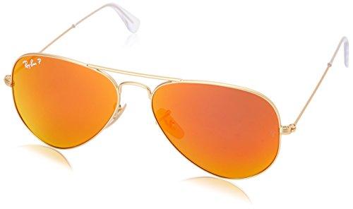 Ray-Ban Men's ORB3025 112/4D55 Polarized Aviator Sunglasses,Matte Gold,55 mm