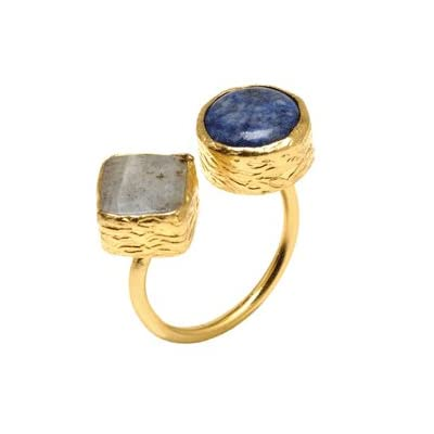Lapis Lazuli and Agate Ring by Tiklari