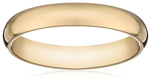 Women's 10k Yellow Gold 3mm Traditional Plain Wedding Band, Size 8