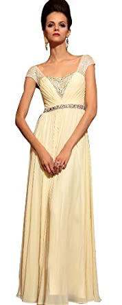 Dapene woman cap sleeve long wedding guest formal dress for Amazon wedding guest dress