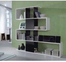 Comprar Habitdesign 1T2251BO - Estanteria Zig Zag, acabado blanco brillo y negro brillo, medidas 145 x 145 x 30 cm
