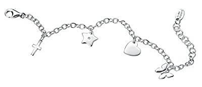 D for diamond Sterling Silver for Children's Butterfly, Heart, Star and Cross Charm Bracelet of 16cm