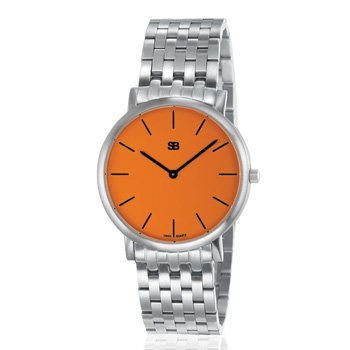 SOB1013/BRLINK Steel Blaze Watch, Orange Dial with Steel Bracelet