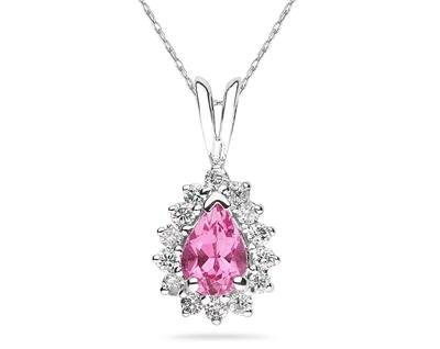 Pear Shaped Pink Topaz and Diamond Flower Pendant