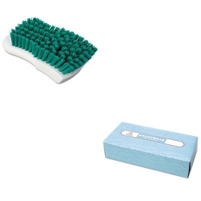 KITBWK6500BWKFSCBGRN - Value Kit - Boardwalk Scrub Brush (BWKFSCBGRN) and Boardwalk 6500 Two-Ply Facial Tissue (BWK6500) kitbun6101bwk390 value kit toilet tissue 9quot diameter bun6101 and boardwalk disposable apron bwk390