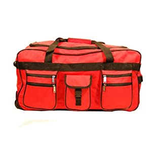 Wheeled Holdall Trolley Travel Bag Luggage on Wheels Various Sizes and Colours (34 inch, Red)