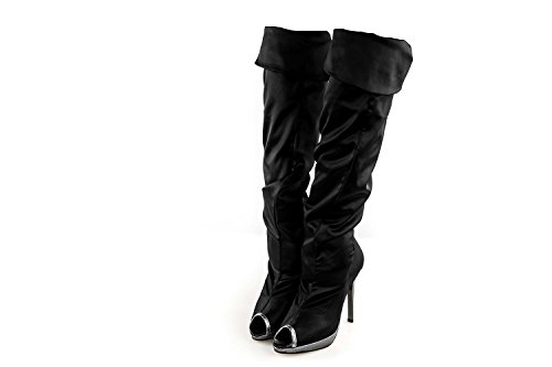 Scarpe donna ALBERTO VENTURINI stivali eleganti in raso open toe nero N40 X3200