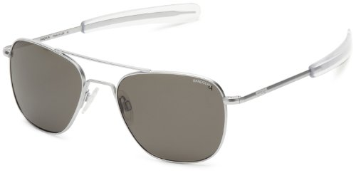 Randolph Aviator Square Sunglasses, 55, Matte Chrome, Bayonet, Gray Polarized Lenses