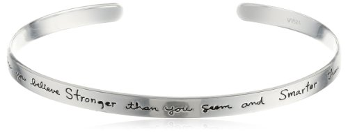 Sterling Silver Cuff Bracelet with Inspirational Message,
