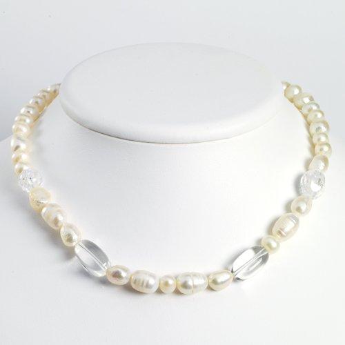 Sterling Silver Crackle Quartz/White Pearl/Rock Quartz Necklace - 16 Inch