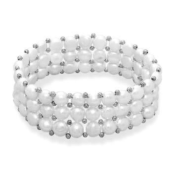 3 Row Cultured Freshwater Button Pearl Stretch Bracelet