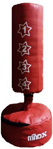 MADX - Set da boxe per bambini, con sacco paracolpi e guantoni, colore rosso