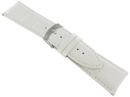 28mm Morellato Alligator Grain Genuine Leather Padded Stitched White Watch Band Strap