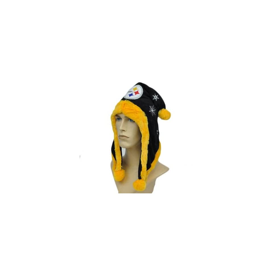 NFL Pittsburgh Steelers Black Yellow White Jester Pom Ball Velour Faux Fur Hat