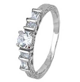 Sterling Silver Engagement Ring With Round Cubic Zirconia in 4 Prongs and Bar Setting
