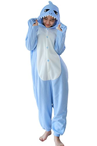 Harvey Unsex Men's Women's Nightclothes Sleepwear Cosplay Kigurumi Flannel Anime Cartoon Onesie Adult Pajamas Nighty Light Blue Shark Size XL (Kigurumi Shark compare prices)