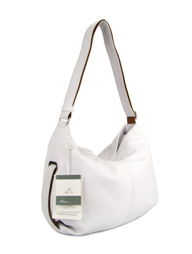 BRUNO ROSSI Italian White Leather Shoulder Bag Cross-body Hobo Bag