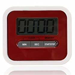 Magnetic Digital LCD Kitchen Timer Count Up Down Egg Cooking Timer(Battery Not included) (Red)