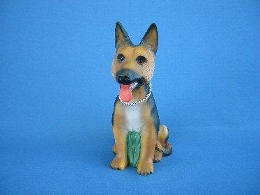 Deko Figur Schäferhund klein mit Bewegungsmelder aus Kunststoff