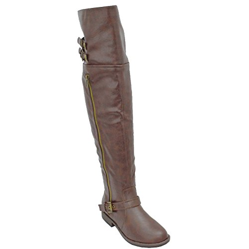 Montage83 Chestnut CRP Knee High Contrast Zipper Metal Stud Buckle Riding Boot-9