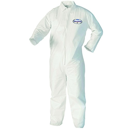 Kleenguard A40 Liquid & Particle Protection Coveralls (37685), Zip Front, White, Large, Convenience Pack of 1 Pair