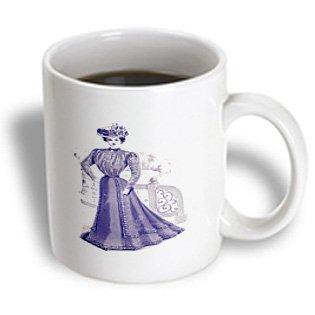 Mug_182461_1 Florene - Vintage Fashion - Print Of Victorian Lady In Violet Dress With Fleur De Lis On Sleeve - Mugs - 11Oz Mug