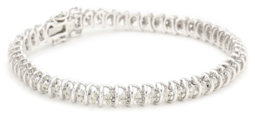 Sterling Silver Diamond Tennis Bracelet (1 Cttw,