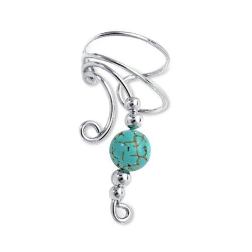 Bling Jewelry Ear Cuff Left Ear Genuine Turquoise Long Wave 925 Sterling Silver