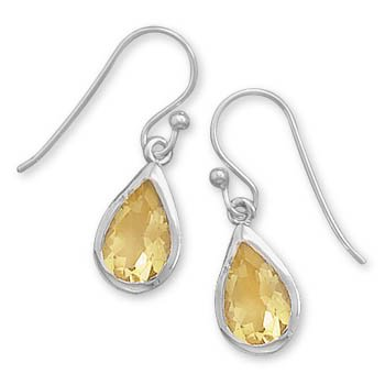 Faceted Pear Citrine Earrings