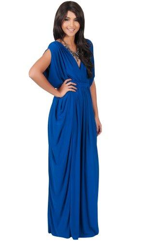 Koh Koh Women's Diamond Weave Elegant Long V-Neck Evening Cocktail Kaftan Gown Maxi Dress – Large – Cobalt Blue