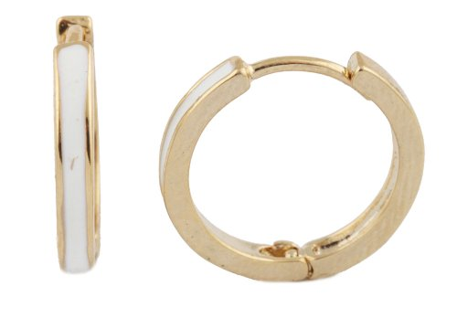 2 Pairs Of Goldtone With White .5 Inch Huggie Earrings