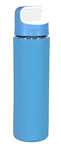 Gourmet Home Products Glass Sports Bottle with Silicone Body & Two Tone Lid, Blue, 18 oz