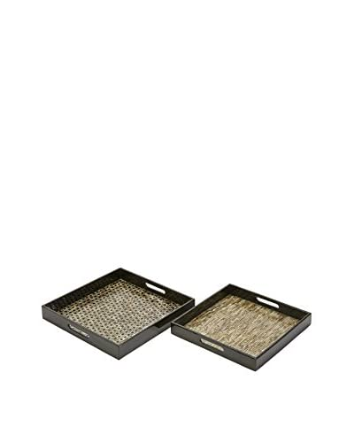 Jacobs Set Of 2 Mother of Pearl Serving Trays, Natural