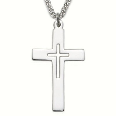 Sterling Silver Cross Necklace in a Pierced Design