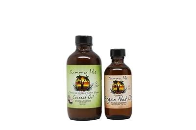 """Sunny Isle Organic Extra Virgin Coconut Oil 4 oz & Organic Argan Oil 2 oz """"Set"""""""