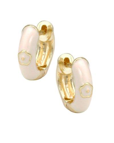 Junior Jewels 18K Gold Overlay White Enamel Huggie Earrings