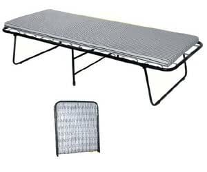 Single folding steel frame guest bed with mattress