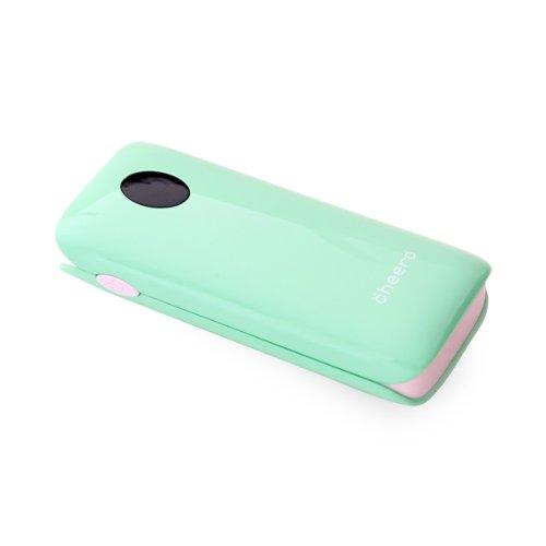 cheero Grip 5200mAh (ミントグリーン) 大容量モバイルバッテリー (2.1A,1A 2出力ポート/ ポーチ付/半年保証)