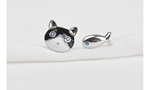 Sterling Silver Cute Cat and Fish Stud Earrings - 1