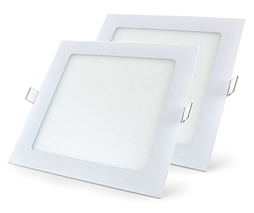 Mazda LED Panel 15W Ceiling Light (Pack of 2, White, Square)