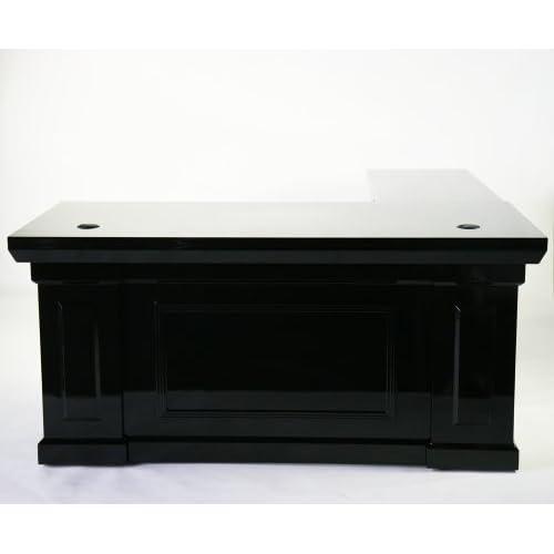 超高級 プレジデントデスク エグゼクティブデスク ピアノ塗装 ブラック L型 フラット81652BK
