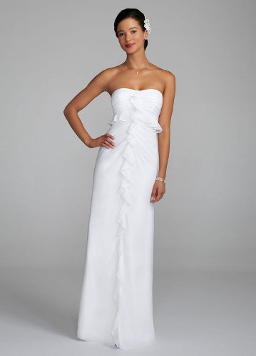 David's Bridal Wedding Dress: Strapless Chiffon Dress with Ruffle Detail Style 460849