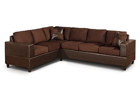 2-Piece Modern Sectional Sofa with Accent Pillows (Chocolate)