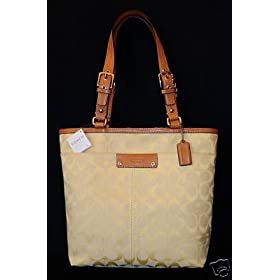 COACH HAMPTON SIGNATURE TOTE HANDBAGS F 13077 - LEMON