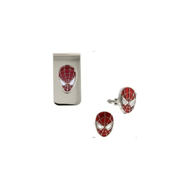 Spiderman 3D Red Logo Cufflinks and Money Clip Box Set