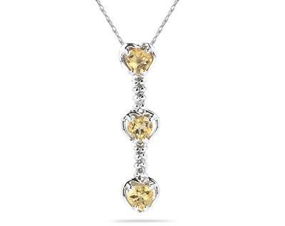 Three Citrine Hearts and Diamonds Drop Pendant in White Gold