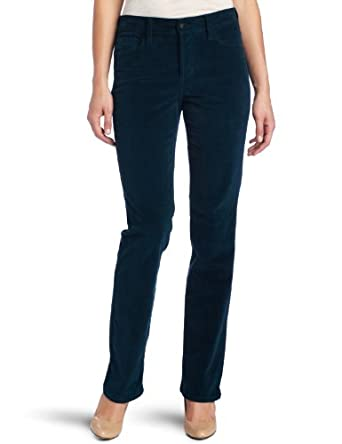 NYDJ Women's Marilyn Corduroy Straight Leg Jean, Dark Teal, 12
