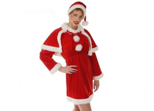 Deluxe Lady's Santa Suit Hat,Dress,Cape,Belt